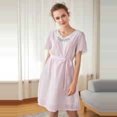 Amerika Standar Kapas Manis Lengan Bang Pendek Renda Wanita Hamil Baju Rumah Gaun Tidur (Ungu)