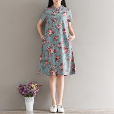 Amoi Sastra Dicetak Kapas Yard Besar Peningkatan Gaun Cheongsam (Elegan Biru) baju wanita dress wanita Gaun wanita