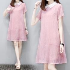 Amoi Wanita Ukuran Besar Setengah Panjang Model Rok Berbentuk Huruf A Gaun (Merah Muda Warna [Berkualitas Tinggi Sifon Bahan]) baju wanita dress wanita Gaun wanita
