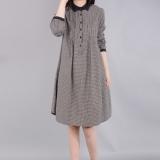 Beli Ziyi Setengah Panjang Model Elegan Rok Kaos Lengan Panjang Kotak Kotak Gaun Gambar Warna Secara Angsuran