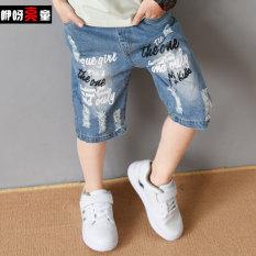 Beli Anak Laki Laki Celana Anak Anak Baru Celana Pendek Denim Huruf Huruf Hitam Dan Putih Denim Celana Huruf Huruf Hitam Dan Putih Denim Celana Tiongkok