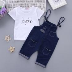 1 Set Setelan Baju dan Celana Anak 1-4 Tahun Bahan Katun Bambu (Musim panas lubang denim-biru) (Musim panas lubang denim-biru)
