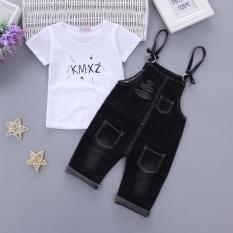 1 Set Setelan Baju dan Celana Anak 1-4 Tahun Bahan Katun Bambu (Musim panas lubang denim-hitam) (Musim panas lubang denim-hitam)