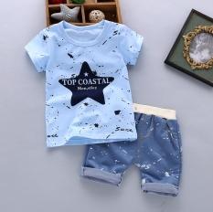 1 Set Setelan Baju dan Celana Anak 1-4 Tahun Bahan Katun Bambu (Musim panas tinta bintang-biru) (Musim panas tinta bintang-biru)