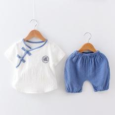 Jual 1 Set Setelan Baju Dan Celana Anak 1 4 Tahun Bahan Katun Bambu Xia Quiet Lengan Pendek Biru Xia Quiet Lengan Pendek Biru Di Tiongkok