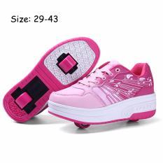 Anak Laki-laki Perempuan Mode Sepatu Tahan Lama Ganda Roda LED Menyala Sepatu Roda Tumit Roda Terlihat Kate Sepatu S RtsShoes Pasar Sneakers