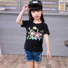 Toko Gadis Lengan Pendek Baru Anak Perempuan Kaos Bunga Matahari Model T Shirt Musim Panas Hitam Online Terpercaya