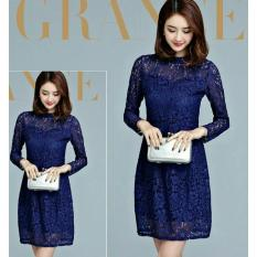 Anami Fashion Pakaian Wanita - Dress Chyntia Lace Navy