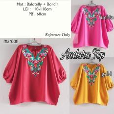 Jual Andara Top Bordir Warna Fuchia Murah