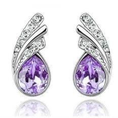 Angel Wings Crystal Earrings 925 Sterling Silver / Anting Wanita [Ungu]