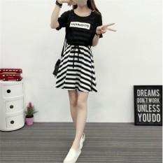 Dress Wanita Malaikat  Populer Korea Blus Sifon dan Tanpa Lengan Bergaris Gaun Dua Potong