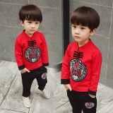 Spesifikasi Angin Cina Angin Etnis Anak Laki Laki Musim Gugur Han Cina Pakaian Sweater Merah Hitam T Shirt Celana Merah Hitam T Shirt Celana Dan Harganya