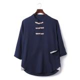 Beli Oriental Style Gaya Cina Kapas Musim Panas Lengan T Shirt Kemeja Linen Biru Tua Terbaru