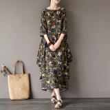Harga Gaya Oriental Retro Kain Linen Musim Semi Dan Musim Panas Ukuran Besar Jubah Gaun Bunga Biru Satu Set