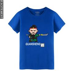 Angin Cina Giok Kirin Baju Lengan Sesiku Katun Kasual Lengan Pendek Kaus (Biru 2)