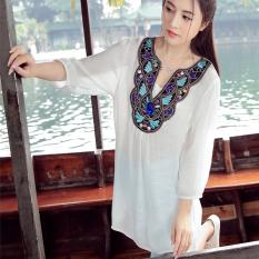Beli Angin Cina Retro Bordir Baru Manik Manik V Neck T Shirt Katun Putih Oem