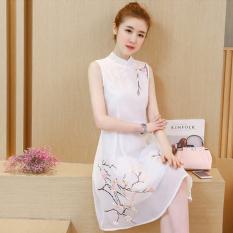 Angin Cina retro bordir cheongsam kerah tombol piring gaun pinggang rompi (Oranye merah muda) OE427