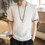Kualitas Angin Cina T Shirt Gaya Cina V Neck Lengan Pendek Musim Panas Nasi Putih Oem