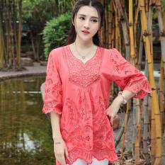 Spesifikasi Longgar Kapas Angin Nasional Perempuan Bordir Bunga Kemeja Daging Merah Merah Baju Wanita Baju Atasan Kemeja Wanita Baru