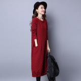 Jual Beli Online Angin Nasional Katun Warna Solid Longgar Lengan Panjang Gaun Gaun Berwarna Merah Keunguan