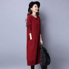 Perbandingan Harga Angin Nasional Katun Warna Solid Longgar Lengan Panjang Gaun Gaun Berwarna Merah Keunguan Di Tiongkok