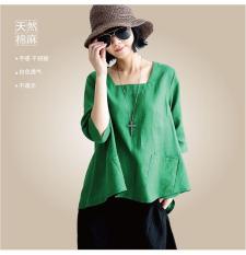 Harga Atasan Kain Linen Asli Kemeja T Shirt Perempuan Hijau Baju Wanita Baju Atasan Kemeja Wanita Tiongkok