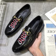 Angin Nasional Pria Musim Semi Mudah Dipakai Sepatu Kulit Kacang Sepatu Kulit Kecil (Bunga Ular (Kulit Terang))