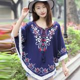 Penawaran Istimewa National Style Tassled New Style Spring And Summer Top Versatile Bat Shirt Biru Terbaru
