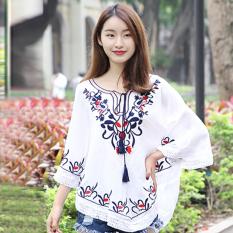 Harga National Style Tassled New Style Spring And Summer Top Versatile Bat Shirt Putih Baju Wanita Baju Atasan Kemeja Wanita Yang Murah Dan Bagus