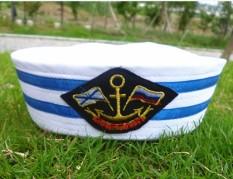 Navy Topi Siswa Sekolah Dasar Pembibitan Topi Army Dewasa Putih (Blue Ribbon tanda segitiga)