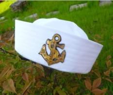 Navy Topi Siswa Sekolah Dasar Pembibitan Topi Army Dewasa Putih (Payet emas standar)