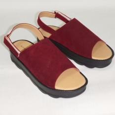 Anneliese Sandal Wedges Wanita Darcy Maroon Asli