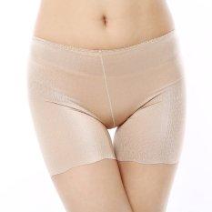 Anti Drawing Seamless Safety Elastic Thin Silk Trousers Leggings Beige Asli