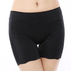 Beli Anti Menggambar Mulus Keselamatan Elastis Sutra Tipis Celana Legging Hitam Online Tiongkok