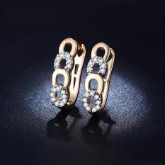 Anting Lapis Emas 18k Berlian Kecil Imitasi Wanita