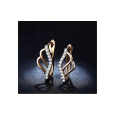 Anting Lapis Emas 18k Hoop Berlian Batu Kecil Elegan Mewah