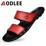 Beli Aodlee Fashion Pria Sepatu Sandal Kasual Sejuk Sandal Merah Internasional Secara Angsuran