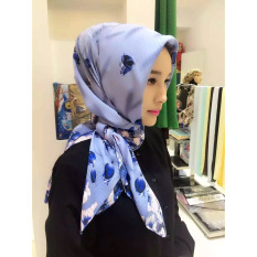 Beli Aooluo 2016 Summer New Fashion Women S Muslim Hood Wave Cotton Towel Wind Scarf Hijab Blue Oem Dengan Harga Terjangkau
