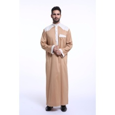 Aooluo Muslim Arab Mans Robes Jubahs Short Sleeve Mens New Styleislamic Clothing (Camel)