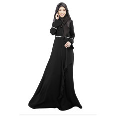 Aooluo Muslim Wanita Pakaian Hui Kostum Etnik Melayu Rok (Hitam)-Intl