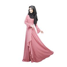 Aooluo Muslim Wanita Pakaian Hui Kostum Etnik Melayu Rok (Merah Muda)-Intl Hengsong