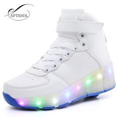 APTESOL Anak Girls Anak Laki-laki LED Light Roller Skate Shoes High-Top 58ff5e0f38