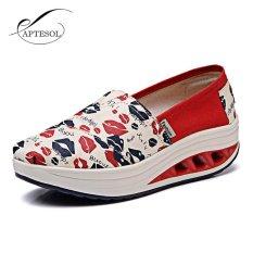 Spesifikasi Aptesol Tinggi Meningkatkan Sepatu Kasual Wanita Ayunan Bernapas Kanvas Wedges Sepatu Eu35 40 Intl Paling Bagus