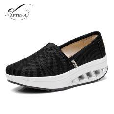Aptesol Baru Tinggi Meningkatkan Sepatu Kasual Wanita Ayunan Bernapas Kanvas Wedges Sepatu Eu35 40 Intl Aptesol Diskon 50