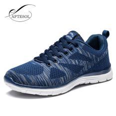 Model Aptesol Menjalankan Sepatu For Pria Luar Ruangan Sport Merek Air Mesh Bernapas Sneakers Super Light Redaman Lembut Renda Sepatu Biru Intl Terbaru