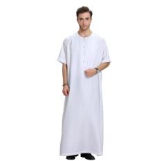 Arab Clothing Men Jubba Thobe Muslim Islamic Clothing Men Plus Size Malaysian Indian Robe Muslim Men Clothing Kaftan Dubai #Cl170913m03[White]