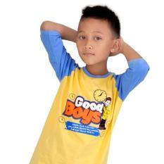 Ardilla Baju Kaos Anak Muslim Syamsakids SL-034 / Baju Kaos Anak Cowok / Baju Kaos Anak Lengan Tiga Perempat / Kuning