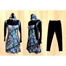 Ariza Sport Baju Renang Muslimah Dewasa-Black Motif 3D