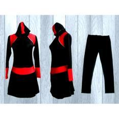 Ariza Sport Baju Renang Muslimah Dewasa-Black Motif Polos