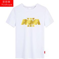 Arma3 Katun Pria Siswa Permainan Baju Kaos Kaus (Putih Cetakan Emas)